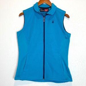 Spyder Womens Blue Fleece Lined Knit Vest Sz L